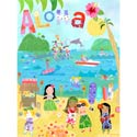 Aloha Girls Stretched Art, Canvas Artwork | Kids Canvas Wall Art | ABaby.com