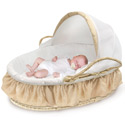 Beige Gingham Moses Basket, Neutral Baby Baskets | Newborn Moses Basket | ABaby.com