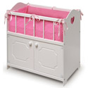 White Storage Doll Crib with Bedding, Baby Doll House | Accessories | Doll Furnitutre Sets