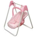 Pink Gingham Doll Swing and Carrier, Baby Doll House | Accessories | Doll Furnitutre Sets