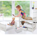 White Rose Convertible Doll Bunk Bed with Baskets
