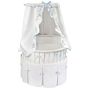 Blue Trim Elite Oval Bassinet , Baby Bassinet Bedding sets, Bassinet Skirts, Bassinet Liners, and Hoods