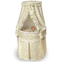 Ecru and Leaf Empress Round Baby Bassinet