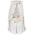 White Empress Round Baby Bassinet with Gingham Belts
