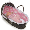 Espresso Moses Basket with Pink Polka Dot Bedding