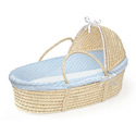 Furry Dot Hooded Moses Basket, Baby Baskets For Boys | Boys Moses Baskets | ABaby.com
