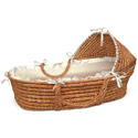 Gingham Hooded Moses Basket, Baby Baskets For Boys | Boys Moses Baskets | ABaby.com
