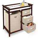 Modern Changing Table with 3 Baskets and Hamper, Baby Changing Table | Changing Tables With Drawers | ABaby.com