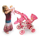 Pink Polka Dots Reversible Double Doll Stroller, Baby Doll House | Accessories | Doll Furnitutre Sets