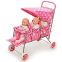 Polka Dots Triple Doll Stroller, Baby Doll House | Accessories | Doll Furnitutre Sets