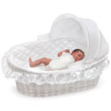 Wicker Moses Basket with Hood, Moses Baskets With Stands | Baby Moses Baskets | ABaby.com