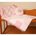 Patchwork Pink Porta Crib Bedding, Portable Crib Bedding Sets | Mini Crib Bedding Sets | ABaby.com