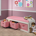 Cushioned Bench with Storage Baskets, Kids Shelves | Baby Wall Shelves | Nursery Storage | ABaby.com