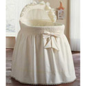 Embossed Damask Creation Bassinet Set, Baby Bassinet Bedding sets, Bassinet Skirts, Bassinet Liners, and Hoods