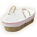 Colored Stripe Moses Basket, Baby Baskets For Girls | Girls Moses Baskets | ABaby.com
