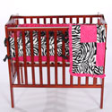 Minky Zebra Porta Crib Bedding Set, Portable Mini Crib Bedding Sets For Your Baby