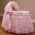 Ruffled Pink Bassinet, Baby Girl Bassinet Bedding | Baby Girl Bedding Sets | ABaby.com