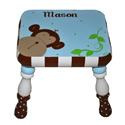 Blue Monkey'n Around Stool, African Safari Themed Nursery | African Safari Bedding | ABaby.com