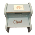 Personalized Blue Elephant Step Stool, Personalized Step Stool for Toddlers | Kids | Small | aBaby.com