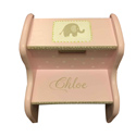 Personalized Pink Elephant Step Stool, African Safari Themed Nursery Room | Jungle Nursery | aBaby.com