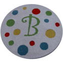 Colorful Dots Round Initial Rug, Kids Playroom Area Rugs | Bedroom Rugs | Carpet | aBaby.com