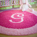 Personalized Round Border Rug, Solid Rugs | Kids Pink Rugs | Baby Pink Rugs | ABaby.com