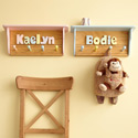 Personalized Coat Rack with Shelf, Peg Shelves | Kids Nursery Wall Shelves | ABaby.com