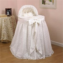 Draped Lace Bassinet, Baby Bassinet Bedding sets, Bassinet Skirts, Bassinet Liners, and Hoods