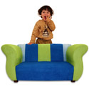 Fancy Blue 'n Green Microsuede Sofa, Kids Chairs | Personalized Kids Chairs | Comfy | ABaby.com