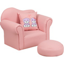 Kids Pink Chair with Footrest and Throw Pillow, Kids Upholstered Chairs | Personalized | Couch | Armchair