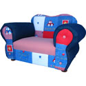 Blue Cars Comfy Chair, Kids Upholstered Chairs | Personalized Upholstered Chairs | ABaby.com