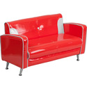 Red and White Retro Loveseat, Kids Upholstered Chairs | Personalized | Couch | Armchair