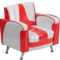 Kids Retro Red and White Chair, Kids Upholstered Chairs | Personalized Toddler Couch | Rocker | Recliner