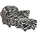 Roundy Chair Zebra with Ottoman, Kids Upholstered Chairs | Personalized Upholstered Chairs | ABaby.com