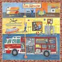 Fire House Stretched Art, Fireman Artwork | fireman Wall Art | ABaby.com