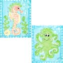 Seahorse and Octopus Wall Art, Nursery Wall Art |  By The Sea Wall Art  | ABaby.com