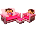 Dora Deluxe Toddler Sofa, Chair and Ottoman, Kids Upholstered Chairs | Personalized Upholstered Chairs | ABaby.com