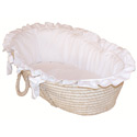 Pristine White Moses Basket, Baby Baskets For Girls | Girls Moses Baskets | ABaby.com
