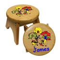 Personalized 3 Little Pigs Stool, Nursery Rhymes Themed Nursery | Nursery Rhymes Bedding | ABaby.com