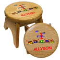 My First Personalized Wooden Stool, Train And Cars Themed Nursery | Train Bedding | ABaby.com
