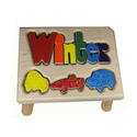 Cars Puzzle Name Stool, Train And Cars Themed Nursery | Train Bedding | ABaby.com