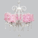 Pink Feather 5 Arm Grace Chandelier, Nursery Lighting | Kids Floor Lamps | ABaby.com