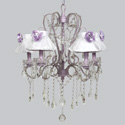 Lavender Rose 5 Arm Whimsical Chandelier, Nursery Lighting | Kids Floor Lamps | ABaby.com