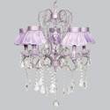 Lavender Ruffled 5 Arm Whimsical Chandelier, Nursery Lighting | Kids Floor Lamps | ABaby.com