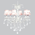 White Sash 6 Arm Glitz Chandelier, Nursery Lighting | Kids Floor Lamps | ABaby.com