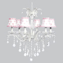 Pink Petal Flowers 6 Arm Glitz Chandelier