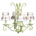 Green 'n Pink Rosebud 4 Arm Chandelier, Nursery Lighting | Kids Floor Lamps | ABaby.com