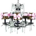 Leopard Pink Bow Chandelier, Chandeliers for Kids Rooms & Nursery | Mini Chandelier | aBaby.com