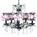 Zebra Pink Bow Chandelier, Nursery Lighting | Kids Floor Lamps | ABaby.com