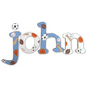 Blue and White Sports Wall Letters, Sports Nursery Decor | Sports Wall Decals | ABaby.com